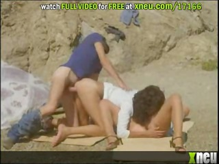 busty dike ladies get drilled into a three people