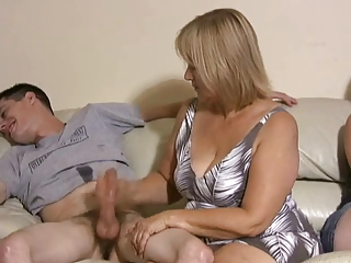 mother and daughter jerking two boys off