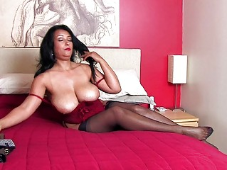 sweet brunette momma with large bazongas into