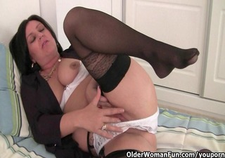 hard nippled milf wears nylons and crotchless