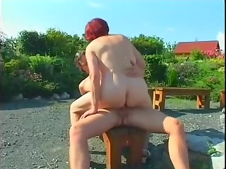 obese aged redhead pierced outdoors