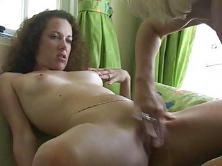 curly brunette takes her cave fingered by