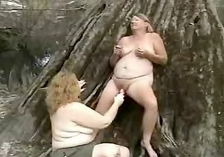 old pervert lesbians having joy outdoor.