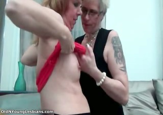 sexually excited lesbo with glasses is engulfing