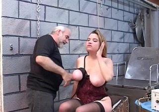 dd bondaged golden-haired serf is released from